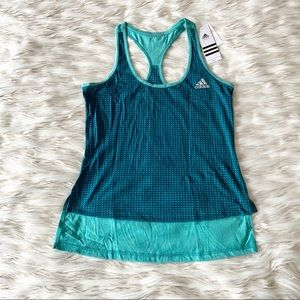 Adidas Blue Green Athletic Racer Back Tank Top